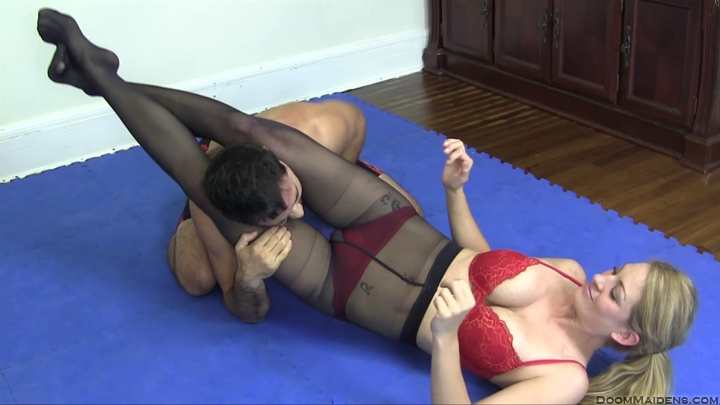 Wrestling in pantyhose