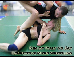 Kim of Italy vs Jay: Competitive Mixed Wrestling