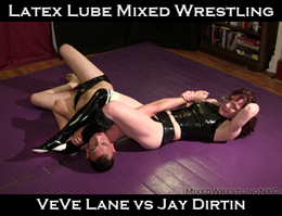 VeVe Lane Shiny Latex Wrestling