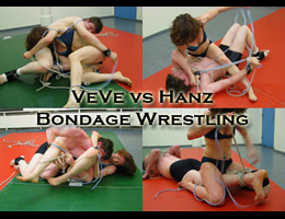 VeVe vs Hanz: Competitive Mixed Bondage Wrestling